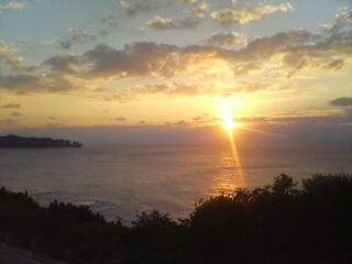 夕日とブリーチング